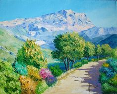 WhatsApp Image at Pictures To Paint, Art Pictures, Pintura Exterior, Z Arts, Beginner Painting, Colorful Paintings, Sacred Art, Mountain Landscape, Modern Wall Art