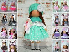 Fabric doll Handmade doll Rag doll Tilda doll Art doll Interior doll Green doll Soft doll Nursery doll Cloth doll Collectable doll by Olga S Russia Ukraine, Textiles, Soft Dolls, Fabric Dolls, Lana, Baby Dolls, Doll Clothes, Nursery, Etsy