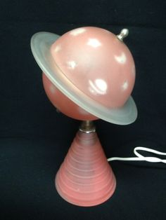 1939 New York World's Fair Lamp Saturn Pink Frosted Glass