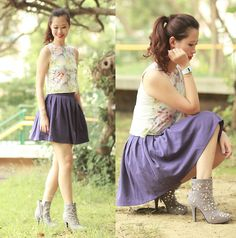 Romwe Print Tank, Pappwatch Paper Watch, Romwe Purple Skirt, Randa Embellished Booties