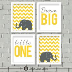 WANT! Nursery Decor Chevron - Nursery Art, Kids Wall Art - A set of four 8x10 prints - Elephant Wall Decor