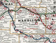 Harrison County, Ohio, 1901, Map, Cadiz, Hopedale, Deersville, Piedmont, New Athens, Freeport, Tippecanoe, Bowerston, Scio, Jewett, OH Cadiz Ohio, Ohio Map, County Map, Ancestry, Athens, Geography, Genealogy, Maps, Truck