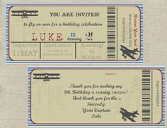 Airplane Birthday Invitation and Thank You by ALonePineDesigns
