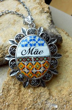 Portugal Antique Azulejo Tile Necklace - Mother's Day - Mae - Custom order - https://www.etsy.com/shop/Atrio?ref=hdr_shop_menu