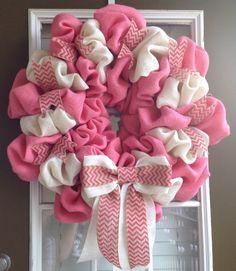 Breast Cancer Wreath - Burlap Wreath - Breast Cancer Awareness - Fall Wreath - Summer Wreath - Everyday Wreath - Door Wreath by JnSMDesigns on Etsy