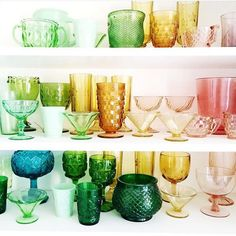 What's better than a bunch of unique, beautiful, colorful glasses?? Seriously though, love the diversity of shapes and colors in this picture. thank you so much for sharing @elsielarson ! #crafttherainbow