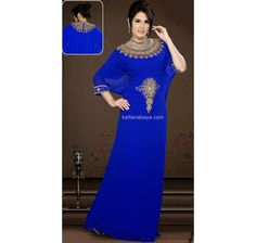 Blue Faux Georgette Designer Arabic #Kaftan