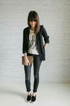 Blazer negro Office casual outfit