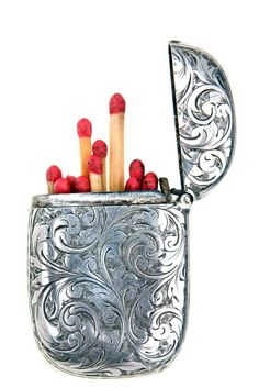 Shop - Mens Accessories - Cigarette Cases - Matchstick Holder - Silver - Man Of The World Magazine