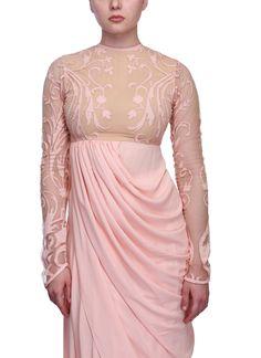 Indian Fashion Designers - Siddhartha Tytler - Contemporary Indian Designer Clothes - Tunics - ST-SS15-STC14-KRTA-001 - Enigmatic Peach Draped Kurta