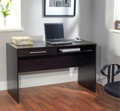 Stylish Writing Desk With Storage Drawer Home Office Furniture Espresso Finish