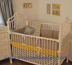 Grey Chevron and yellow crib bedding
