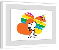 Rainbow Hearts Peanuts Framed Art Print