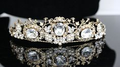Gold  Bridal Crown Wedding Tiara  Pearl and Crystal Bridal Tiara Swarovski Rhinestone AMBER