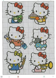 Hello Kitty Hama Perler Bead Patterns or Cross Stitch Charts