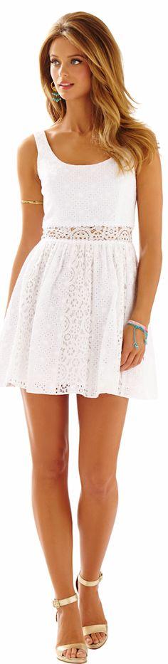 LILLY PULITZER ROSEMARIE EYELET SCOOP NECK DRESS WHITE