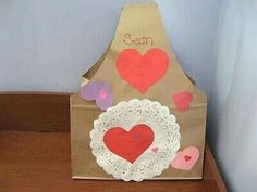 Valentine Container--Just cut out a class set.  Easy Peasy, and they'll be cute after the kids decorate them!