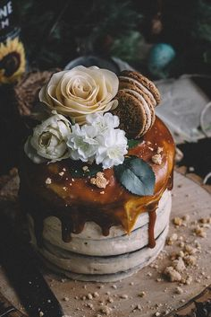 Chocolate Almond Espresso Cake with Cashew Butter Icing + Salted Caramel Sauce (Vegan)