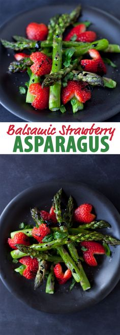 This easy balsamic strawberry asparagus recipe turns cheap balsamic vinegar into a sweet syrup to drizzle on roasted asparagus with strawberries and basil. Vegetable Recipes, Vegetarian Recipes, Healthy Recipes, Chicken Recipes, Vegan Asparagus Recipes, Recipe Chicken, Whole Food Recipes, Cooking Recipes, Christmas Side Dishes