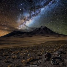"""travel-in-pictures: """" Antofagasta Region, Chile """"Magical of the night in Atacama Desert, Chile. """" by Victor Lima from Brazil Source Desert Photography, Landscape Photography, Travel Photography, Cool Landscapes, Beautiful Landscapes, Site Instagram, Panoramic Images, Photos Of The Week, Milky Way"""
