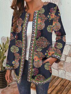 Ethnic Style Floral Print Plus Size Jackets - Newchic Plus Size Outerwear Mobile Plus Size Outerwear, Plus Size Coats, Style Floral, Ethnic Fashion, Womens Fashion, Style Ethnique, Vestido Casual, Vestidos Vintage, Fashion Clothes