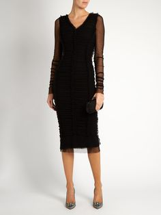 Ruched-tulle midi dress | Dolce & Gabbana | MATCHESFASHION.COM