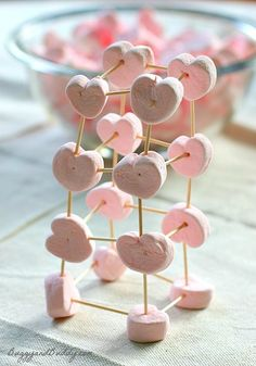 Marshmallow toothpick structures are always a hit with kids, and these heart-themed marshmallows make the activity perfect for Valentine's Day!                                                                                                                                                                                 More