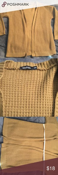 Camel Waffle Knit Cardigan. A camel Waffle Knit cardigan in brand new condition! Please refer to measurements in photos and comment if you need more! Purchased from ASOS made by boohoo. ASOS Sweaters Cardigans