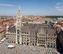 Marienplatz - Munich, Germany. Great memories here. Once with best friend. Sat at a cafe in front and watched the great display. :)