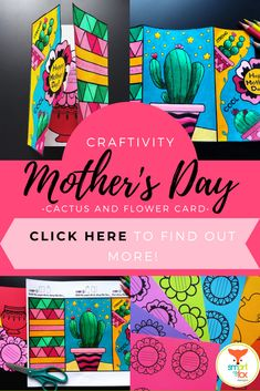 Mother's Day Cactus and Flower Card Craftivity Fox Design, Flower Cards, Gates, Worksheets, How To Find Out, Finding Yourself, Students, Teacher, Clip Art