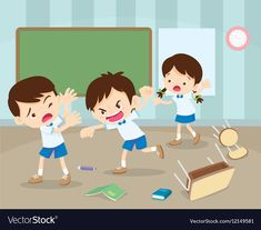angry boy hitting him friend.Little angry boy shouting and hitting.Quarreling kids in classroom. Kids Cartoon Characters, Cartoon Kids, Kids Study, Art For Kids, Arabic Lessons, School Clipart, Kids Vector, Kids Behavior, School Pictures