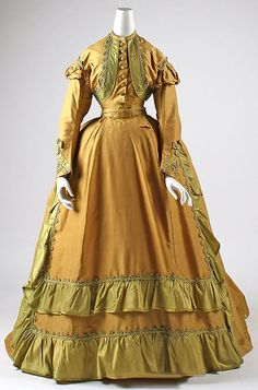 Afternoon dress Date: ca. 1866 Culture: French Medium: silk Dimensions: (a) Length at CB: 15 1/2 in. (39.4 cm) (b) Length at CB: 61 in. (154.9 cm)