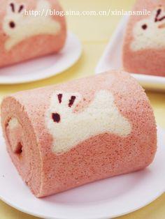 Painted rabbit red yeast chiffon cake roll