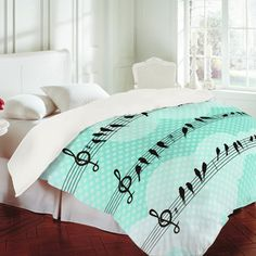 Musical Duvet Cover from DENY Designs - Such a lovely shade of aquamarine and beautiful birds.