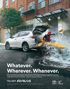 The Print Ad titled Adventure anywhere was done by Saatchi & Saatchi Los Angeles advertising agency for product: (brand: Toyota) in United States. Creative Advertising, Ads Creative, Creative Posters, Advertising Poster, Advertising Design, Advertising Campaign, Advertising Ideas, Guerilla Marketing, Street Marketing