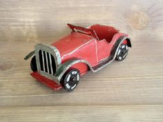 Vintage Handmade Tin Car Retro '30s Model Car Toy Red