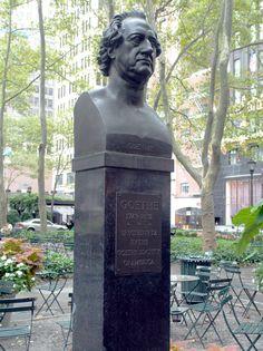 Johann Wolfgang von Goethe bust, Bryant Park, NYC, www.RevWill.com