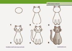 kerajinan anak TK/SD, langkah/cara menggambar & mewarnai kucing                                                                                                                                                      More