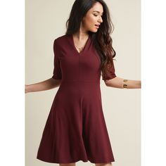 Womens - Inspired by this burgundy dress, you visit unexpected destinations in the company of its darling design. From rustling forests to bustling cityscapes, this A-line's short sleeves and autumnal hue enhance Unique Dresses, Stylish Dresses, Fashion Dresses, Short Sleeve Dresses, Short Sleeves, Women's Fashion, Dresses Dresses, Work Fashion, Unique Fashion