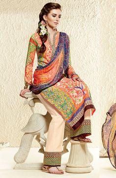 USD 52.15 Orange Cotton Silk Pakistani Style Suit 55739
