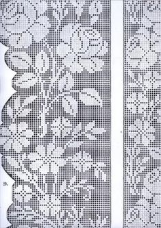 lace fillet with grapes Filet Crochet Charts, Crochet Diagram, Cross Stitch Embroidery, Embroidery Patterns, Crochet Patterns, Crochet Curtains, Crochet Doilies, Thread Crochet, Crochet Stitches