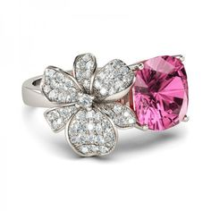 Floral Style Cushion Cut Created Pink Sapphire Rhodium Plating 925... ($130) ❤ liked on Polyvore featuring jewelry, rings, engagement rings, statement rings, rhodium plated rings, sterling silver statement ring and floral ring
