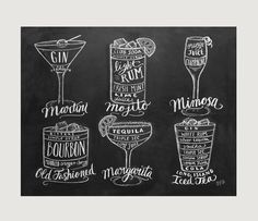 This cocktail guide is a cute and useful print! It would make a lovely addition to your kitchen or bar decor.  Lovingly illustrated with a mix of cheer and whimsy, our prints add character to any space or occasion. Frame them around the home or surprise a special someone with these uniquely charming gifts.  All Lily & Val original chalkboard prints are hand-lettered using chalk, then digitally photographed and printed on professional, archive quality Epson paper for a timeless look withou...