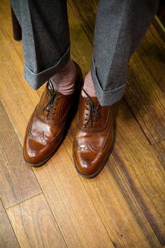 When I look down I'd like to see cognac wingtips on my feet.