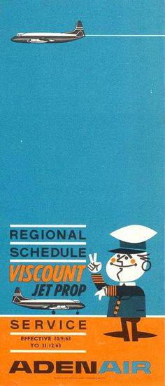 """Aden Air Vintage Airline Timetable Advertising the Vickers Viscount """"Jet Prop Service"""" from 1963"""