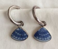 "Broken china ""Blue Willow"" Japanese Style Blue White Sterling Hoop Earrings Stud"