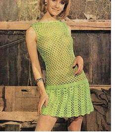 Vintage Crochet Carolette Double Knit Dress Pattern Refer to last photo for materials and sizes ♥´¨) ¸. Crochet Wedding Dress Pattern, Crochet Wedding Dresses, Black Crochet Dress, Wedding Dress Patterns, Vintage Dress Patterns, Knit Dress, Vintage Dresses, Crochet Dresses, Up Girl