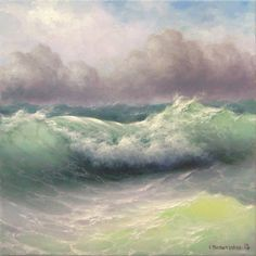 """Seascape,  12""""x 12"""" original oil on canvas painting on Etsy, £313.36"""