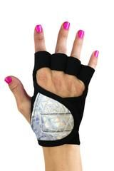 G-Loves Australia - Bizarre Love Triangle, silver sparkly Workout Gloves | gym gloves, weightlifting, Australia, women, g-loves, cycling, running workout, bodybuilding gloves.
