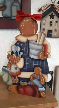 Pintura Country, Tole Painting, Christmas Time, Gingerbread, Snowman, Mixed Media, Quilting, Christmas Decorations, Chanel